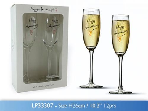 Happy Anniversary Champagne Flute Glasses Set of 2 Gift Boxed Glassware