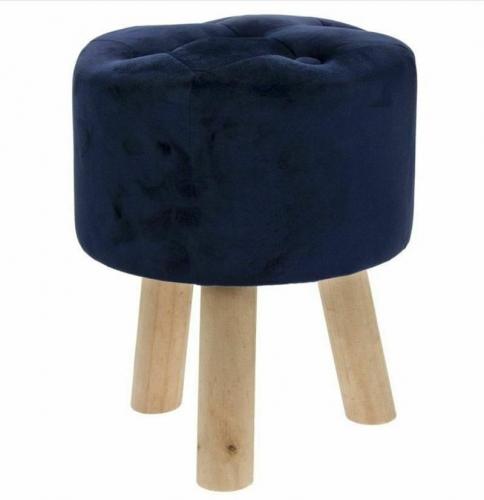 Blue Velvet Round Foot Stool Modern Home Decor