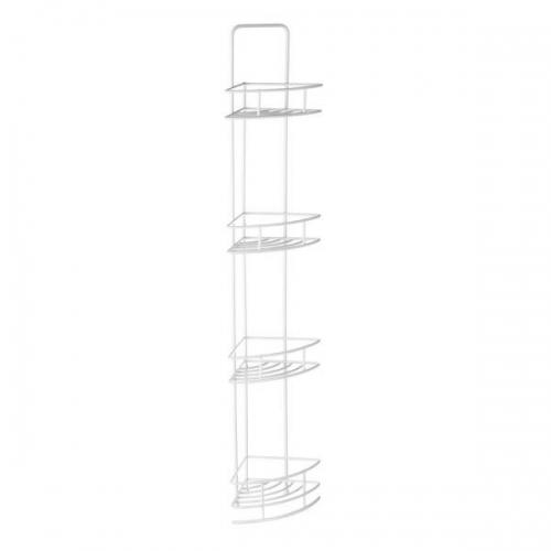 4 Tier White Corner Storage Caddy Metal With Vinyl Coating  H87 x W14 x D14cm