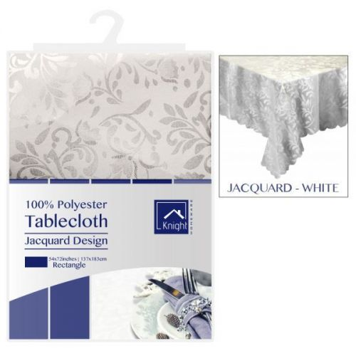 54X72 Inches Rectangle Polyester Table Cover White Jacquard Design