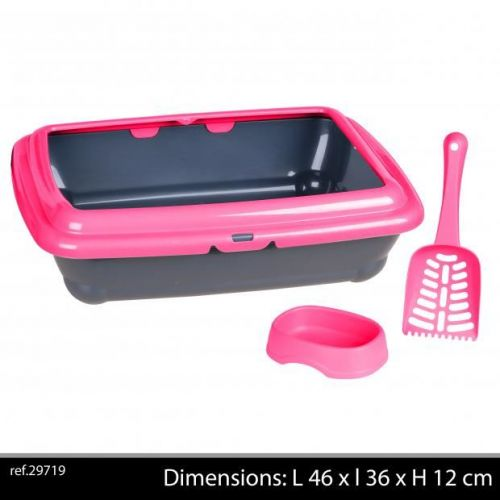 Cat Litter Tray With Bowl And Scoop Pink