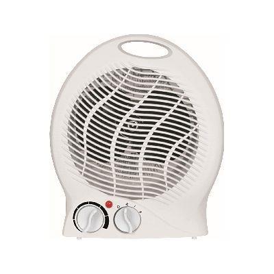 2kW Upright White Fan Heater Electric 2 Heat Settings 1000W/2000W