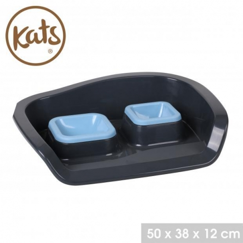 Pet Bowl Double With Tray Blue