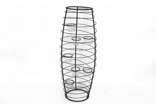 23X23X60Cm 6 Cup Vase Shape Black Metal Tealight Holder Home Decoration