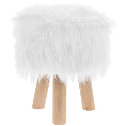 Luxury Round White Furry Foot Stool Wooden