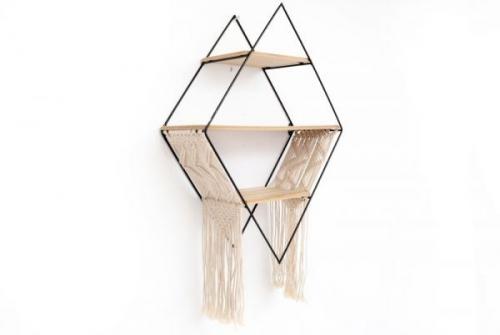 65x45cm Iron and Fabric Decorative Diamond Storage Shelf Unit Wall Hanging Beige