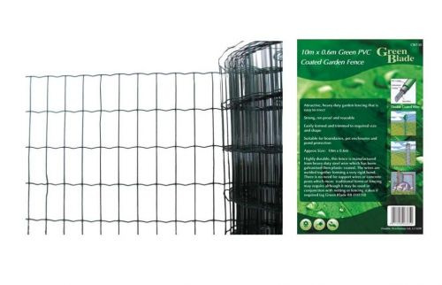 10m X 0.6m Green PVC Coated Garden Fence Wire Edging Fencing Net