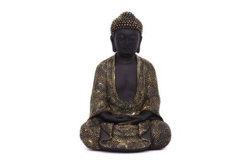 24Cm Black And Brushed Gold Sitting Buddha Figurine Home Decoration