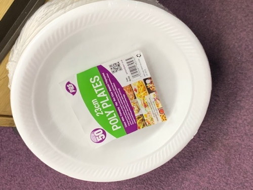 23cm 50pcs Polystyrene Plates Disposable Foam Party Serving Plate
