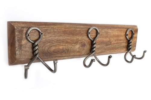 3 Double Metal Coat Hooks On Wooden Base