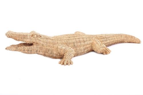 74x26cm Natural Colour Woven Style Crocodile Ornament