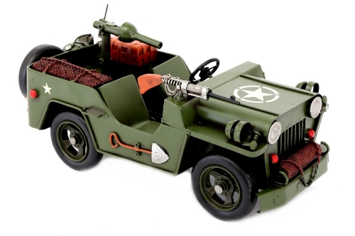 30cm Green Army Jeep Vintage Tin Model Metal Military Truck