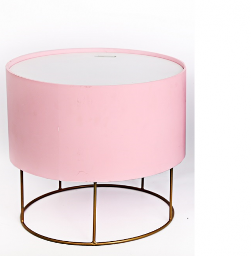 Round Pink and White Storage Stool with Metal Stand 39 x 35cm