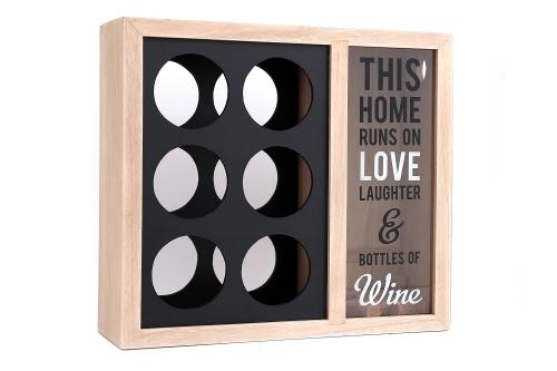 6 Bottle Wooden Wine Holder Rack Stylish