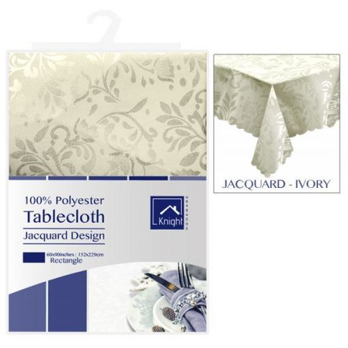 60X90Inches Rectangle Polyester Table Cover Ivory Jacquard Design