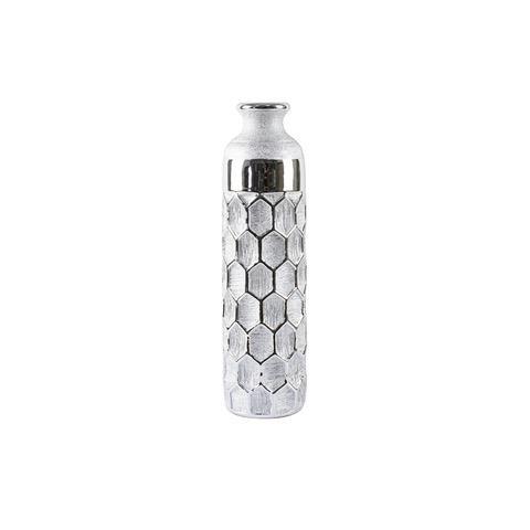 40cm Silver Art Polished Ceramic Vase Geometric Table Ornament