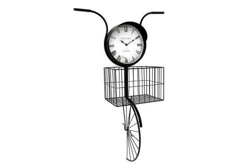 Bike Headlight Shape Wall Clock With Basket Black