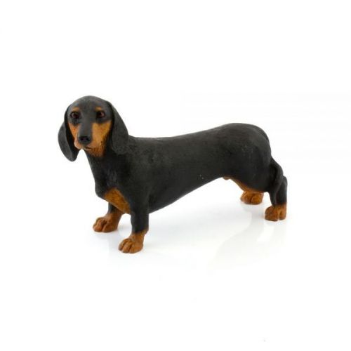 14Cm Dachshunds Black And Tan Sausage Dog Figurine Resin Home Decoration