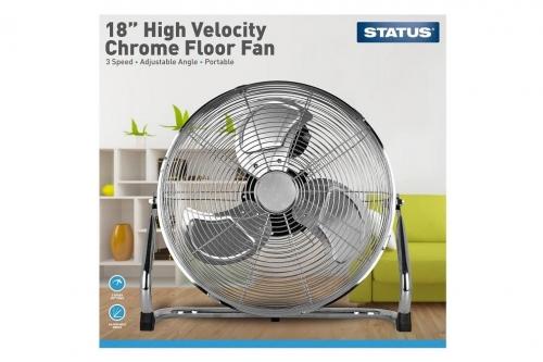 Status 18 Inch High Velocity Chrome Floor Fan
