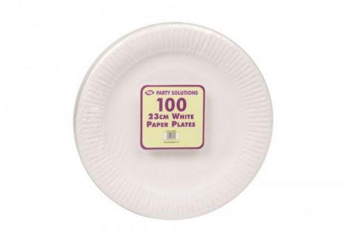 100pcs White Paper Plates Disposable 23cm Party Serving Plates