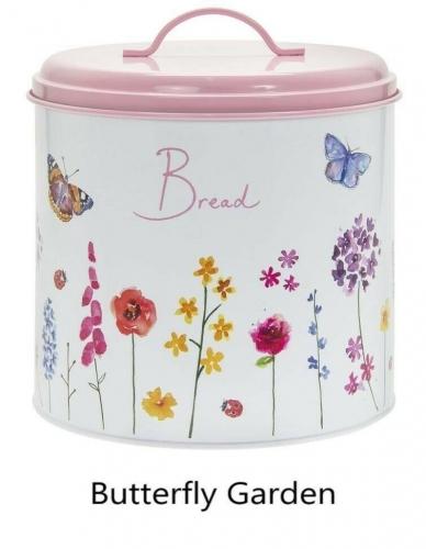Butterfly Garden Bread Bin Storage Retro Enamel