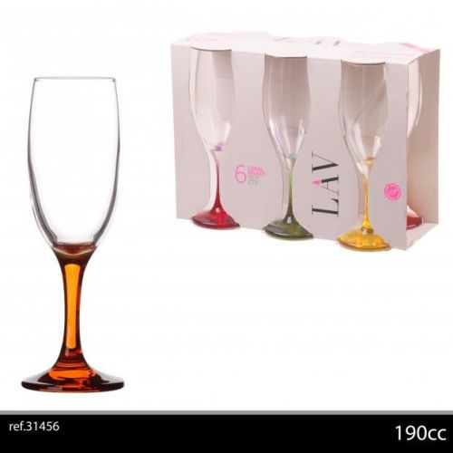 6Pk Champagne Glasses 19Cl Asst Colours