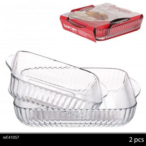 Borcam 2Pc Square Glass Roasting Dishes