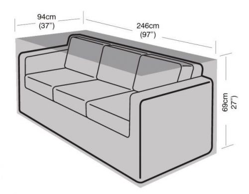 3 Seater Large Garden Sofa Furniture Waterproof Cover Black 246Cm