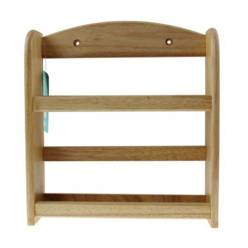 2 Tier Wall Mounted Hevea Wood Spice Herb Rack Kitchen Stand Natural