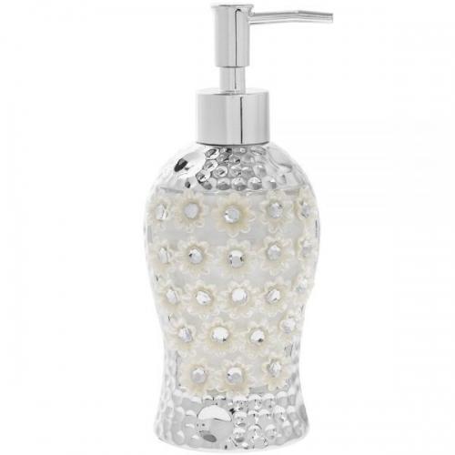 Ceramic Silver Mille Fleurie Diamante Soap Dispenser Bathroom Decoration