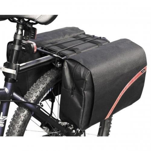 Large Double Bike Pannier Cycle Bag Black