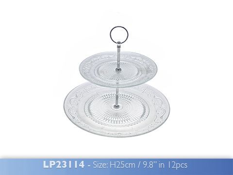 2 Tier Glass Cake Stand 29cm The Leonardo Collection