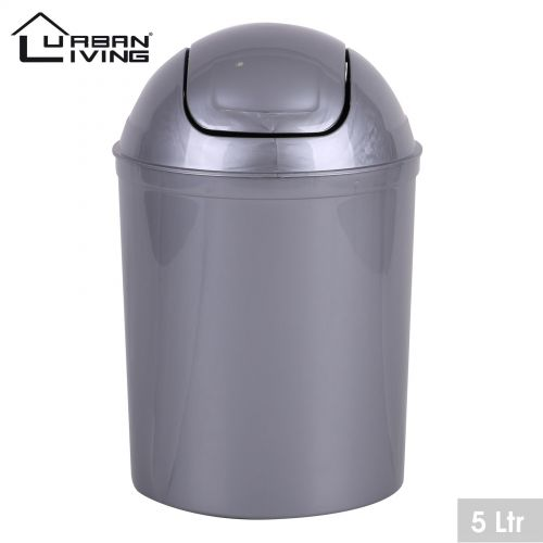 Grey Plastic 5 Litre Mini Swing Top Lid Waste Bin Office Home Bathroom Toilet