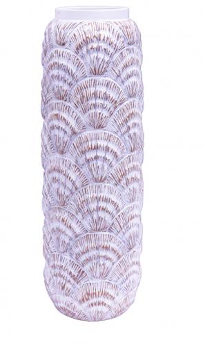 Rustic Tall White Vase Shell Design 50Cm