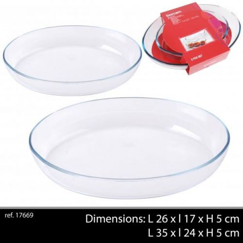 Borcam 2Pc Oval Glass Roasting Dishes 1 X 35x24 1 X 18x26Cm