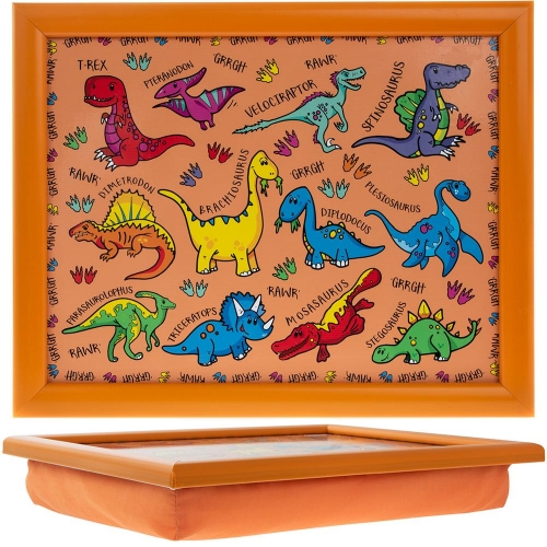 Childrens Orange Dinosaurs Design Lap Tray Bean Bag Cushion Base