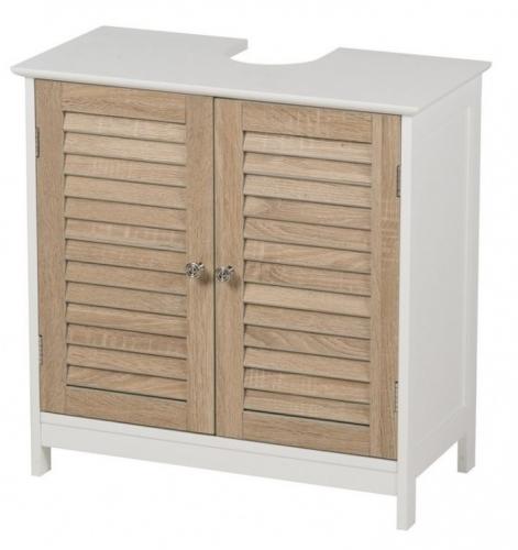 Wooden White Under Sink cabinet Natural Doors and Shelf Bathroom Home Storage 60x30x60cm