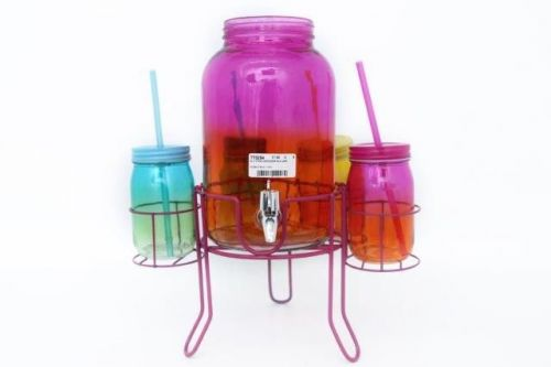 4L 2 Toned Drink Dispenser With 4 Jars Multi Coloured Tropical Theme