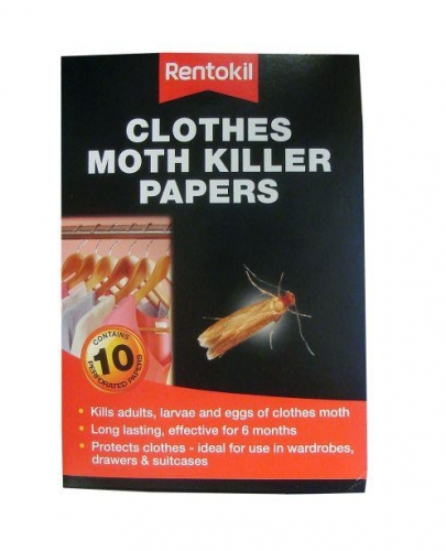 Pack Of 10 Rentokil Clothes Moth Killer Papers Strips