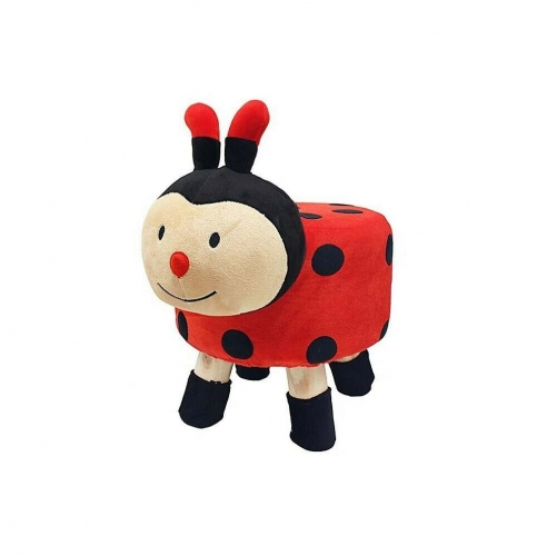 Ladybird Design Round Stool Wooden Legs Childrens