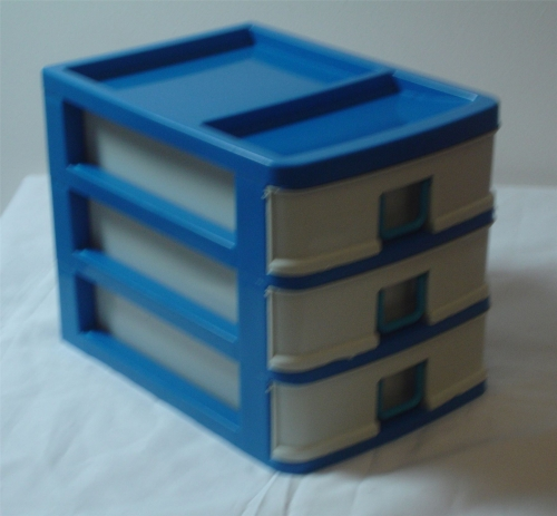 3 Drawer Sewing Box Storage Container Blue Knitting Plastic Needle