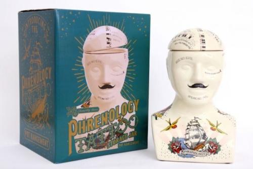 30cm Large Ceramic Phrenology Storage Tattoo Head Decorative Display