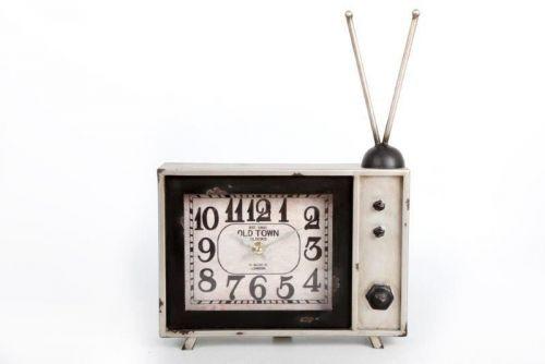 35X25Cm Vintage Tv White Metal Clock Home Decoration