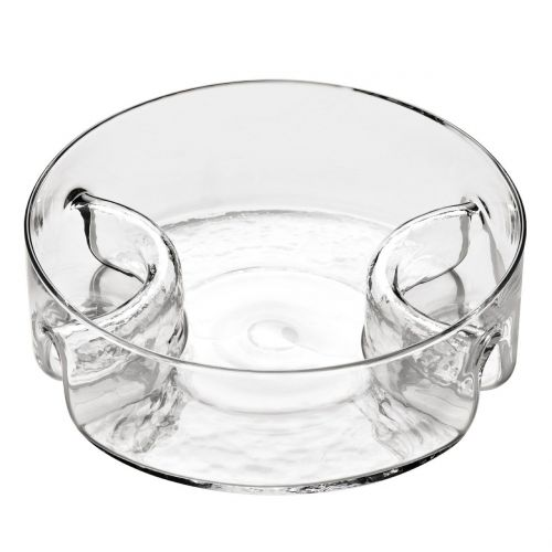 3 Section Glass Serving Dish Bowl Round