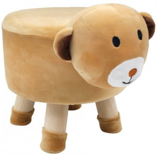 Luxury Wooden Foot Stool Bear Design Kid Chair Seat