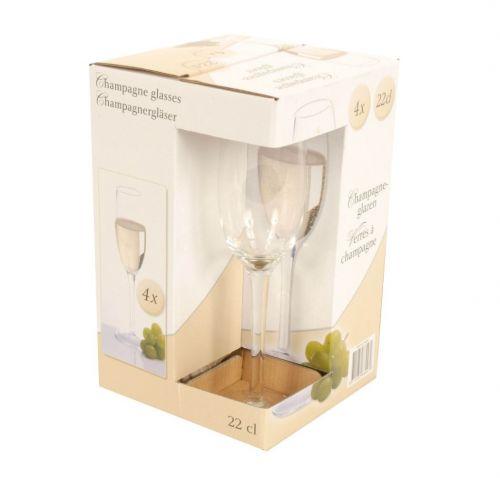 22cl Champagne Glasses Set of 4 Bar Drink Celebration Glassware