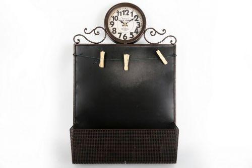 70X40Cm Wall Clock & Memo Board Black Metal Home Kitchen