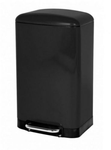 30 Ltr Pedal Bin Rectangular Black Stainless Steel Home Kitchen