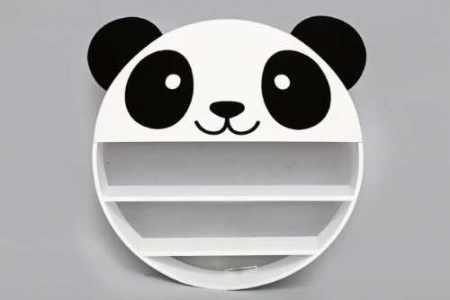 52X50X8Cm Wooden Panda Face Shelf Round 2 Tier Home Decoration