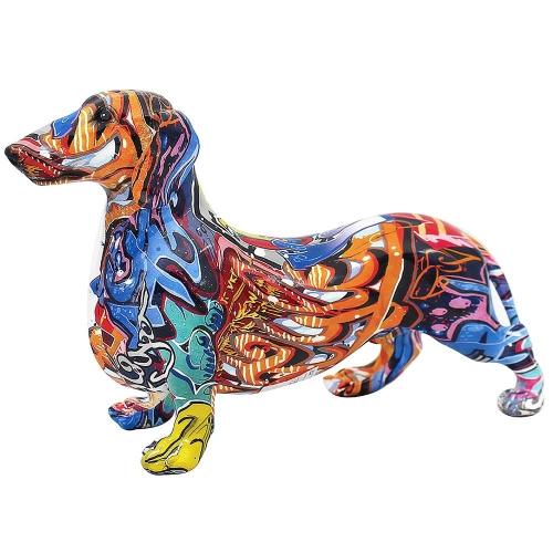 26cm Graffiti Art Design Dachshund Dog Figurine Ornament